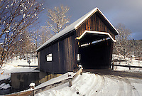 AJ4625, covered bridge, winter, Vermont, Warren Covered Bridge c.1880 in Warren in Mad River Valley in Washington County in the state of Vermont.