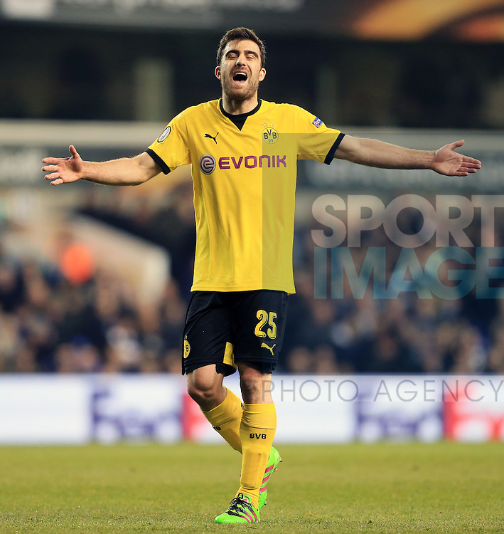 Dortmund's Sokratis Papastathopoulos in action during the Europa League match at White Hart Lane Stadium.  Photo credit should read: David Klein/Sportimage