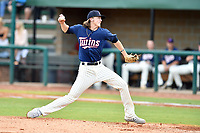 Elizabethton Twins starting pitcher Ryan Shreve (19) delivers a pitch during a game against the Kingsport Mets at Joe O'Brien Field on July 6, 2019 in Elizabethton, Tennessee. The Twins defeated the Mets 5-3. (Tony Farlow/Four Seam Images)