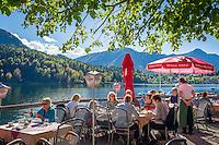 Austria; Styria; Styrian Salzkammergut; Ausseer Land, Grundlsee: seaside café | Oesterreich, Steiermark, Steirisches Salzkammergut, Ausseer Land, Grundlsee: Café am See