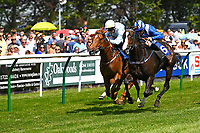 Winner of The Wateraid Mildren Construction Maiden Fillies' Stakes (Plus 10),Neshmeya ridden by Jim Crowley and trained by Charles Hills  during Father's Day Racing at Salisbury Racecourse on 18th June 2017