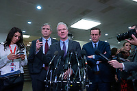 United States Senator Jeff Merkley (Democrat of Oregon), United States Senator Chris Van Hollen (Democrat of Maryland), and United States Senator Chris Murphy (Democrat of Connecticut) speak to members of the media following a closed door briefing in the Senate SCIF with United States Secretary of State Mike Pompeo, United States Secretary of Defense Dr. Mark T. Esper, Gina Haspel, Director, Central Intelligence Agency (CIA), United States Army General Mark A. Milley, Chairman of the Joint Chiefs of Staff, and Acting Director of Intelligence Joseph Maguire at the United States Capitol in Washington D.C., U.S., on Wednesday, January 8, 2020.  97 senators were said to have attended the briefing, which discussed the U.S. drone strike on Iranian military leader Qasem Soleimani and the issue of Congressional authorization for such acts.<br /> <br /> Credit: Stefani Reynolds / CNP/AdMedia