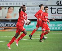 FC GULLEGEM - FC RUPEL BOOM :<br /> Andre Ntambue juicht na zijn aansluitingstreffer (1-2)<br /> <br /> Foto VDB / Bart Vandenbroucke