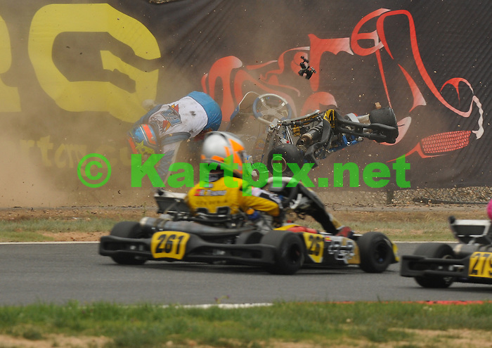 Sam Macleod's Portimao accident, Sam continued later in his spare Kart.