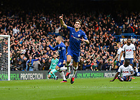 Marcos Alonso of Chelsea celebrates after scoring during the Premier League match between Chelsea and Tottenham Hotspur at Stamford Bridge, London, England on 22 February 2020. PUBLICATIONxNOTxINxUK Copyright: xVincexxMignottx PMI-3396-0013<br /> Photo Imago/Insidefoto <br /> ITALY ONLY