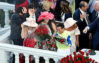 LOUISVILLE, KY - MAY 06: Always Dreaming jockey John Velazquez sprays champaign after winning the Kentucky Derby on Kentucky Derby Day at Churchill Downs on May 6, 2017 in Louisville, Kentucky. (Photo by Jon Durr/Eclipse Sportswire/Getty Images)