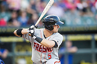 Fresno Grizzlies designated hitter Andrew Susac (5) at bat during the Pacific Coast League baseball game against the Round Rock Express on June 22, 2014 at the Dell Diamond in Round Rock, Texas. The Express defeated the Grizzlies 2-1. (Andrew Woolley/Four Seam Images)