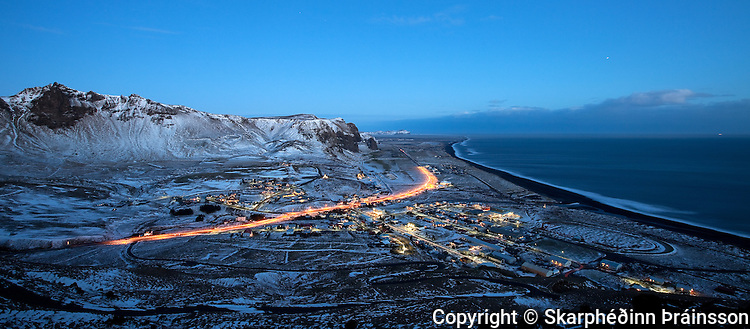 Vík in Mýrdalur at night, south Iceland