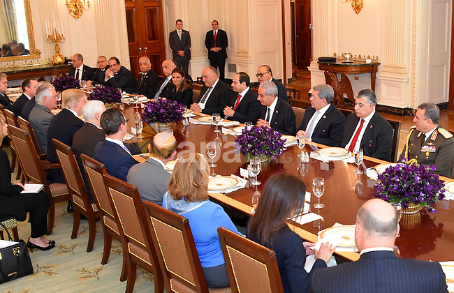U.S. President Donald Trump and Egyptian President Abdel Fattah el-Sisi attend an inter delegations meeting at the White House in Washington, United States on April 3, 2017. Photo by Egyptian President Office