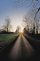 Sun setting behind village house Edgecote Northamptonshire UK..©shoutpictures.com..john@shoutpictures.com