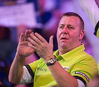 03.01.2015.  London, England.  William Hill PDC World Darts Championship.  Semi Final Round.  Darts fans at the 2015 William Hill World Darts Championship.
