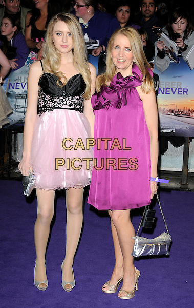 "GILLIAN McKEITH & SKYLAR McKEITH-MAGAZINER.Attending ""Justin Bieber: Never Say Never"" UK film premiere, Cineworld, The O2 Arena, Millennium Way, London, England, UK, February 16th 2011..Full length daughter family purple pink dress tiered ruffle ruffles one shoulder black silver peep toe shoes gold bag .CAP/CAN.©Can Nguyen/Capital Pictures."