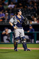 Colorado Springs Sky Sox catcher Tyler Heineman (22) during a game against the Oklahoma City Dodgers on June 2, 2017 at Chickasaw Bricktown Ballpark in Oklahoma City, Oklahoma.  Colorado Springs defeated Oklahoma City 1-0 in ten innings.  (Mike Janes/Four Seam Images)