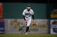 Lancaster JetHawks shortstop Alan Trejo (2) during a California League game against the Inland Empire 66ers at San Manuel Stadium on May 18, 2018 in San Bernardino, California. Lancaster defeated Inland Empire 5-3. (Zachary Lucy/Four Seam Images)