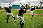 5 March 2019: Pittsburgh Pirates minor league Position Players await their turn in the batting cage during Batting Practice at Pirate City in Bradenton, Florida. Mandatory Credit: Ed Wolfstein Photo *** RAW (NEF) Image File Available ***