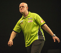09.04.2015. Sheffield, England. Betway Premier League Darts. Matchday 10.  Michael van Gerwen [NED] reacts during his game with Stephen Bunting [ENG]