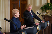 President Dalia Grybauskaite of Lithuania participates in a news conference with U.S. President Donald J. Trump and other leaders of Baltic Nations at The White House in Washington, DC, April 3, 2018. <br /> Credit: Chris Kleponis / Pool via CNP