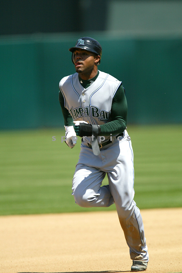 CARL CRAWFORD, of the Tampa Bay Devil Rays , in action during the  Devil Rays game against the Oakland A's  on April 29, 2007 in Oakland, California..Devil Rays win 5-3...Rob Holt/ SportPics..