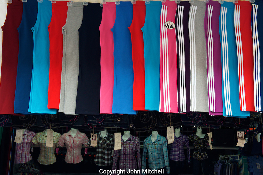 Women's sport Slacks and shirts for sale in a shopping mall in downtown Merida, Yucatan, Mexico..