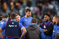 Luke Charteris of Bath Rugby speaks to his team-mates during the pre-match warm-up. European Rugby Champions Cup match, between RC Toulon and Bath Rugby on December 9, 2017 at the Stade Mayol in Toulon, France. Photo by: Patrick Khachfe / Onside Images