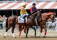 Telekinesis in the post parade as Promises Fulfilled (no. 1) wins the Allen Jerkens  Stakes (Grade 1), Aug. 25, 2018 at the Saratoga Race Course, Saratoga Springs, NY.  Ridden by  Luis Saez, and trained by Dale Romans, Promises Fulfilled finished 1 1/4 lengths in front of Seven Trumpets (No. 5).  (Bruce Dudek/Eclipse Sportswire)