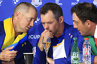 Alex Noran, Paul Casey and Francesco Molinari (Team Europe) at the press conference after Europe win the Ryder Cup 17.5 to 10.5 at the end of Sunday's Singles Matches at the 2018 Ryder Cup 2018, Le Golf National, Ile-de-France, France. 30/09/2018.<br /> Picture Eoin Clarke / Golffile.ie<br /> <br /> All photo usage must carry mandatory copyright credit (&copy; Golffile | Eoin Clarke)