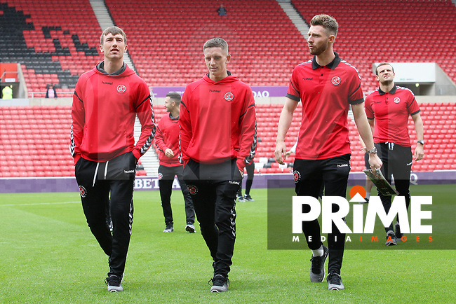 Fleetwood Town's Chris Long (left) before the Sky Bet League 1 match between Sunderland and Fleetwood Town at the Stadium Of Light, Sunderland, England on 8 September 2018. Photo by Stephen Hadlow/MI News & Sport/PRiME Media Images.
