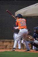Houston Astros Bobby Wernes (50) during an instructional league game against the Atlanta Braves on October 1, 2015 at the Osceola County Complex in Kissimmee, Florida.  (Mike Janes/Four Seam Images)