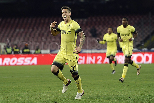 19.01.2016. Naples, Italy. Italian Cup football, Napoli versus Inter Milan.  Stevan Jovetic celebrates his goal