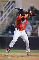 Darick Hall (46) of the Lakewood BlueClaws at bat against the Kannapolis Intimidators at Kannapolis Intimidators Stadium on April 6, 2017 in Kannapolis, North Carolina.  The BlueClaws defeated the Intimidators 7-5.  (Brian Westerholt/Four Seam Images)