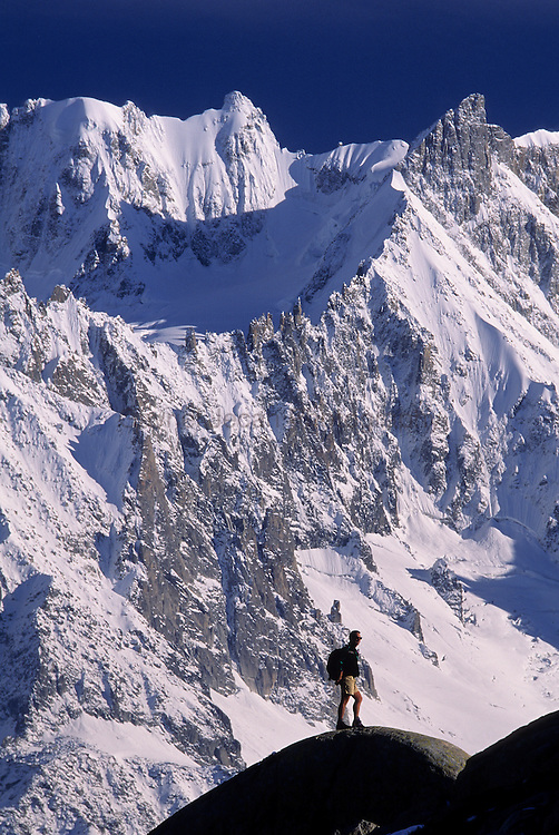 Chamonix Region, French Alps. Hiker, Les Drus,