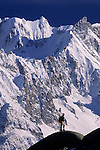 Chamonix Region, French Alps. Hiker, Les Drus,