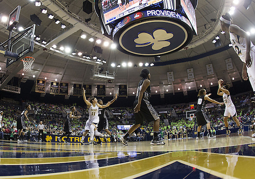 January 26, 2013:  A general view as Notre Dame forward Natalie Achonwa (11) posts up in the lane during NCAA Basketball game action between the Notre Dame Fighting Irish and the Providence Friars at Purcell Pavilion at the Joyce Center in South Bend, Indiana.  Notre Dame defeated Providence 89-44.