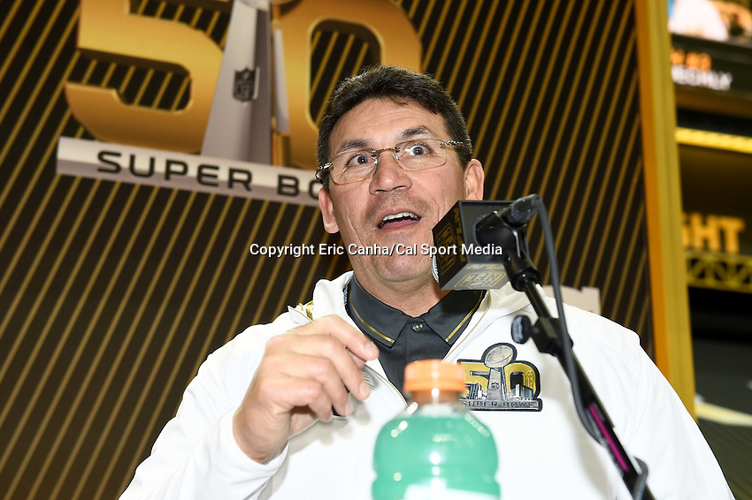 Monday, February 1, 2016: Carolina Panthers head coach Ron Rivera talks to members of the media during the opening day of  press conferences for the National Football League Super Bowl 50 between the Denver Broncos and the Carolina Panthers at the SAP Center, in San Jose, California. Eric Canha/CSM
