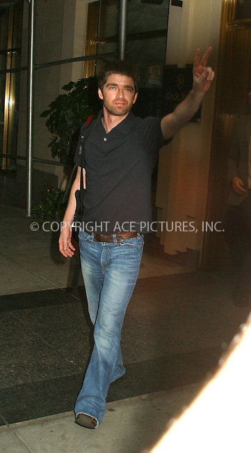 British rock band Oasis delivered triumphant performance at Beacon Theater in New York. New York, August 13, 2002. PICTURED HERE: NOEL GALLAGHER EXITING HIS MIDTOWN HOTEL TO GO TO BEACON THEATER.  Please byline: Alecsey Boldeskul/NY Photo Press.   ..*PAY-PER-USE*      ....NY Photo Press:  ..phone (646) 267-6913;   ..e-mail: info@nyphotopress.com