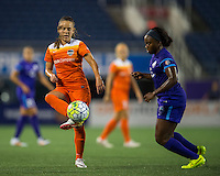Orlando, FL - Thursday June 23, 2016: Andressa Machry, Jamia Fields during a regular season National Women's Soccer League (NWSL) match between the Orlando Pride and the Houston Dash at Camping World Stadium.