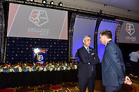 Los Angeles, CA - Thursday January 12, 2017: NWSL Commissioner Jeff Plush prior to the 2017 NWSL College Draft at JW Marriott Hotel.
