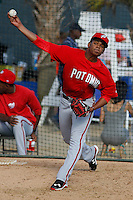 Potomac Nationals pitcher Reynaldo Lopez (14) warming up in the bullpen before a game against the Myrtle Beach Pelicans at Ticketreturn.com Field at Pelicans Ballpark on May 22, 2015 in Myrtle Beach, South Carolina.  Myrtle Beach defeated Potomac 8-4. (Robert Gurganus/Four Seam Images)