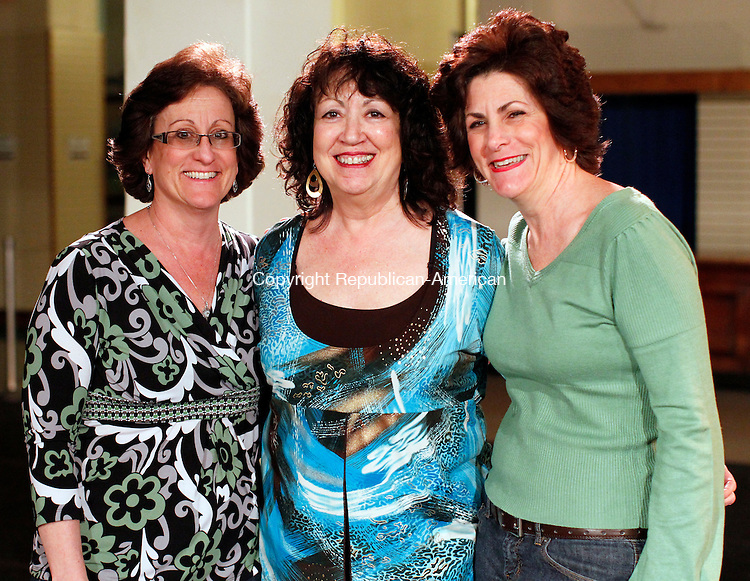 Waterbury, CT-29 March 2012-032912CM08- SOCIAL MOMENTS: (L-R) Mary Lou Gioradno of Waterbury, Linda DiMauro of Torrington and Joann Lacaria of Watertown at the Howland Hughes Center Thursday night in downtown Waterbury.  The CDT held a Latin dance fundraiser to help raise money for CDT's scholarship program for deserving students from the greater Waterbury area.  CDT volunteer, Colleen Stradtman said they are always looking for new students and will be offering exercising classes soon.  For more information contact 203-573-0004.    Christopher Massa Republican-American