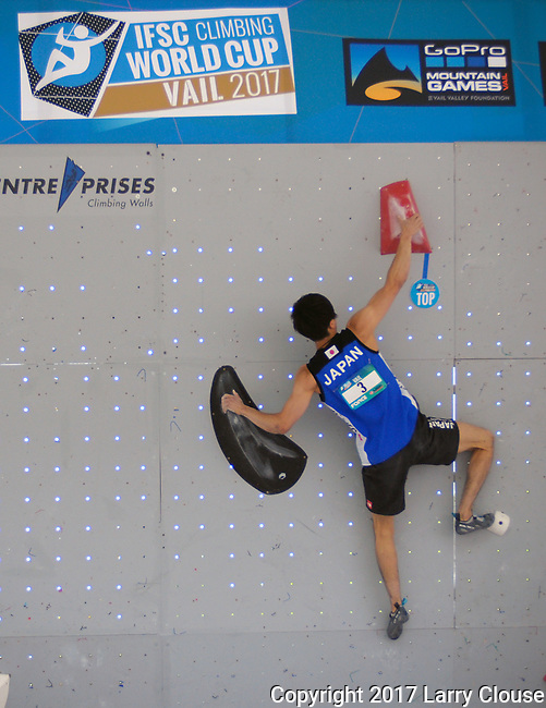 June 9, 2017 - Vail, Colorado, U.S. - Japan's, Kokoro Fujii #3, tops his first climbing problem in the IFSC Climbing World Cup during the GoPro Mountain Games, Vail, Colorado.  Adventure athletes from around the world meet in Vail, Colorado, June 8-11, for America's largest celebration of mountain sports, music, and lifestyle.