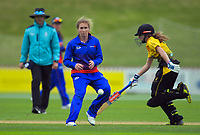 Auckland's Anna Peterson and Wellington's Xara Jetly during the women's Hallyburton Johnstone Shield cricket match between the Wellington Blaze and Auckland Hearts at Basin Reserve in Wellington, New Zealand on Sunday, 17 November 2019. Photo: Dave Lintott / lintottphoto.co.nz