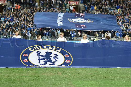02.06.2015.  Sydney, Australia. Football Friendly. Sydney FC versus Chelsea FC. A huge Chelsea banner is unfurled pre-game. Chelsea won the game 1-0.
