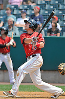 Brandon Waring (17) of the New Britain Rock Cats bats during a game against the Altoona Curve at New Britain Stadium on July 23, 2014 in New Britain, Connecticut.  Altoona defeated New Britain 8-5. (Gregory Vasil/Four Seam Images)
