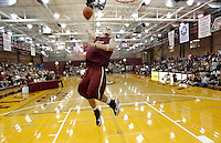 TALLAHASSEE, FLA. 10/15/10-FSUMBB 101510 CH-Florid State's Jon Kreft slams during the Jam with Ham basketball season kickoff dunk contest Friday at Tully Gym in Tallahassee...COLIN HACKLEY PHOTO