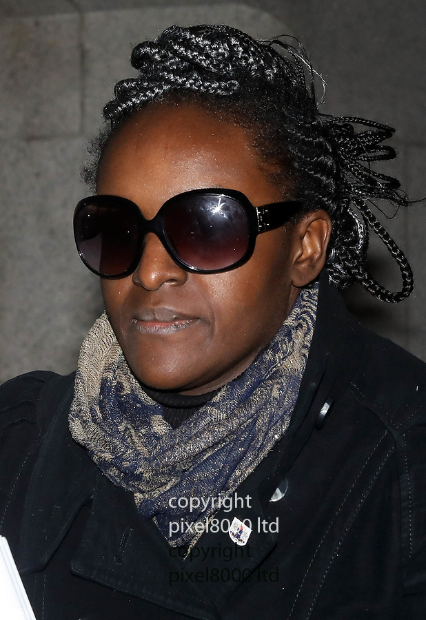 Pic shows: Fiona Onasanya leaves the Old Bailey in London this evening after giving evidence in her defence <br /> against  a charge of perverting the course of justice.<br /> <br /> <br /> pic by Gavin Rodgers/Pixel8000