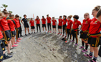 20180305 - LARNACA , CYPRUS :  Belgian team pictured during a Muscular warm up training session on the beach before a women's soccer game between The Belgian Red Flames and Austria , on monday 5 March 2018 on the CTO Beach in Larnaca , Cyprus . The game will be the third game in group B for Belgium during the Cyprus Womens Cup , a prestigious women soccer tournament as a preparation on the World Cup 2019 qualification duels. PHOTO SPORTPIX.BE | DAVID CATRY