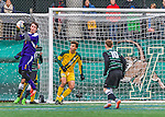 15 November 2015: University of Vermont Catamount Goalkeeper Greg Walton, a Junior from Brunswick, Maine, makes a second half save against the Binghamton University Bearcats at Virtue Field in Burlington, Vermont. The Catamounts shut out the Bearcats 1-0 in the America East Championship Game. Mandatory Credit: Ed Wolfstein Photo *** RAW (NEF) Image File Available ***
