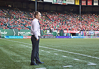 Portland, OR - Saturday August 19, 2017: Mark Parsons during a regular season National Women's Soccer League (NWSL) match between the Portland Thorns FC and the Houston Dash at Providence Park.