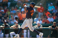 Detroit Tigers third baseman Jeimer Candelario (46) follows through on a swing during a Grapefruit League Spring Training game against the Baltimore Orioles on March 3, 2019 at Ed Smith Stadium in Sarasota, Florida.  Baltimore defeated Detroit 7-5.  (Mike Janes/Four Seam Images)