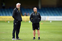 Bath Director of Rugby Todd Blackadder and first team coach Darren Edwards look on prior to the match. Gallagher Premiership match, between Bath Rugby and Wasps on May 5, 2019 at the Recreation Ground in Bath, England. Photo by: Patrick Khachfe / Onside Images